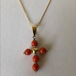 Jewelry - Bland New: Coral Cross pendant with 14ky neck